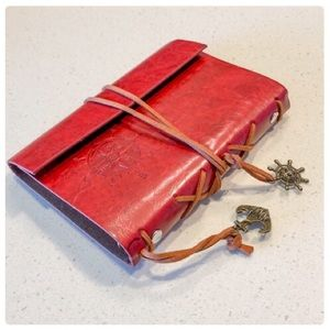 Other - 😎Red Vegan Leather Nautical Notebook😎